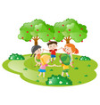 kids holding hands in circle vector image