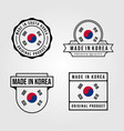 made in korea logo set vintage symbol design vector image