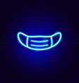 medical mask neon sign vector image vector image