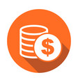 money icon with shadow on orange round background vector image