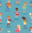 music kids cartoon characters set of vector image vector image
