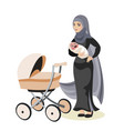 muslim family mother and daughter vector image
