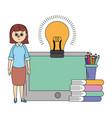 online education woman cartoon vector image vector image