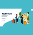 reception web page isometric hotel info point vector image vector image