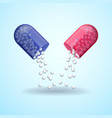red and blue full medical pill capsule with vector image vector image
