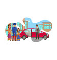 rich indian family waiting for car vector image vector image
