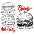 set hand drawn burgers design elements vector image vector image