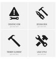 set of 4 editable tool icons includes symbols vector image vector image