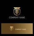 shield building gold company logo vector image vector image