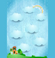 surreal landscape with houses and hanging clouds vector image