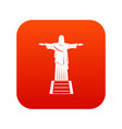 the christ the redeemer statue icon digital red vector image vector image