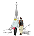 Tourists in Paris vector image