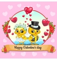valentines day card with chickens bride and groom vector image