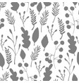 wild forest leaves seamless pattern silhouette vector image