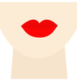 Woman neck and face with big thick red lips Flat vector image vector image