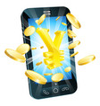 yen money phone concept vector image vector image
