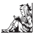 young girl sitting reading recreation vintage vector image vector image