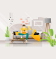 young man using smartphone in living room vector image