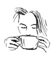 hand-drawn sketch woman drinking coffee vector image