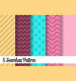 5 seamless pattern set fashion abstract paper art vector image vector image