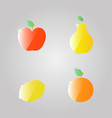 apple pear lemon orange on a gray background vector image vector image