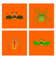 assembly flat halloween spider bat vector image vector image