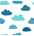 beautiful seamless pattern doodle clouds vector image vector image