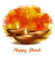 burning diya on happy diwali holiday on dark vector image vector image