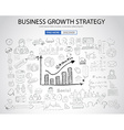 Business Growth Strategy with Doodle design style vector image