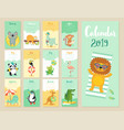 calendar 2019 cute monthly calendar with forest vector image vector image