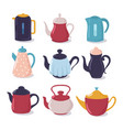 cartoon kettle set teapot with spout kitchenware vector image vector image