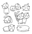 cats line art collection for kids design vector image