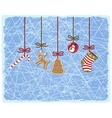 Christmas card with socks and gifts vector image vector image