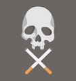 cigarette butt with skull vector image vector image