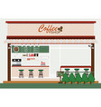 coffee shop building and interior vector image