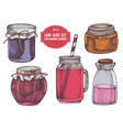 Collection hand drawn colored jars