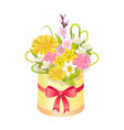 cute bouqet with different flowers colorful banner vector image vector image