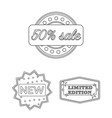 different label outline icons in set collection vector image