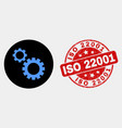 gears icon and scratched iso 22001 stamp vector image vector image