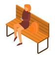 girl at park bench icon isometric style vector image