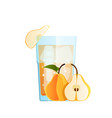 glass with pear juice pieces ice fruit vector image vector image