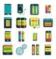 Group of different size color batteries vector image