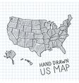 Hand drawn US map vector image vector image