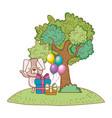 happy birthday cute animal vector image vector image