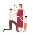 happy family son hugging pregnant mother father vector image