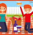 happy people picnic vector image vector image