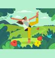 happy young girl doing yoga asana at nature vector image