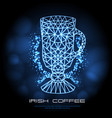 hipster polygonal cocktail irish coffee neon sign vector image vector image