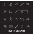 instruments editable line icons set on vector image