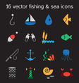 Isolated marine and fishing icons set vector image vector image